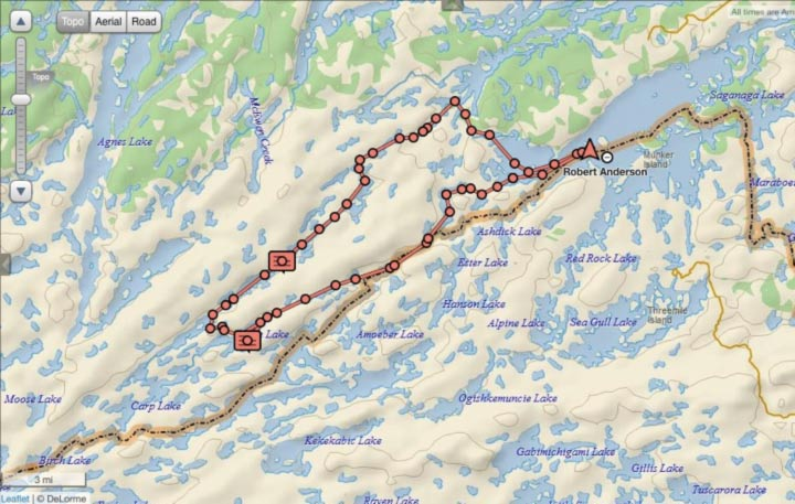 Man Chain Map - Quetico Park Canoe Trip Photo courtesy Robert Anderson