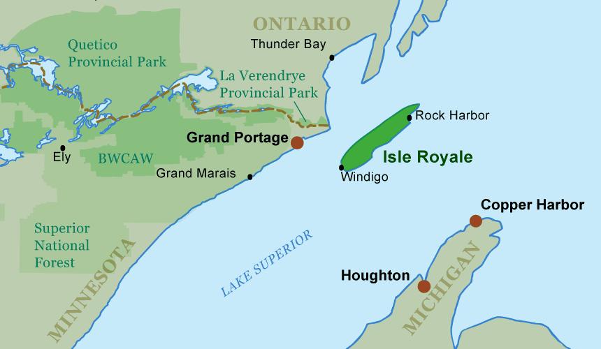Thunder Bay Michigan Map.Isle Royale National Park Guide Canoeing Com
