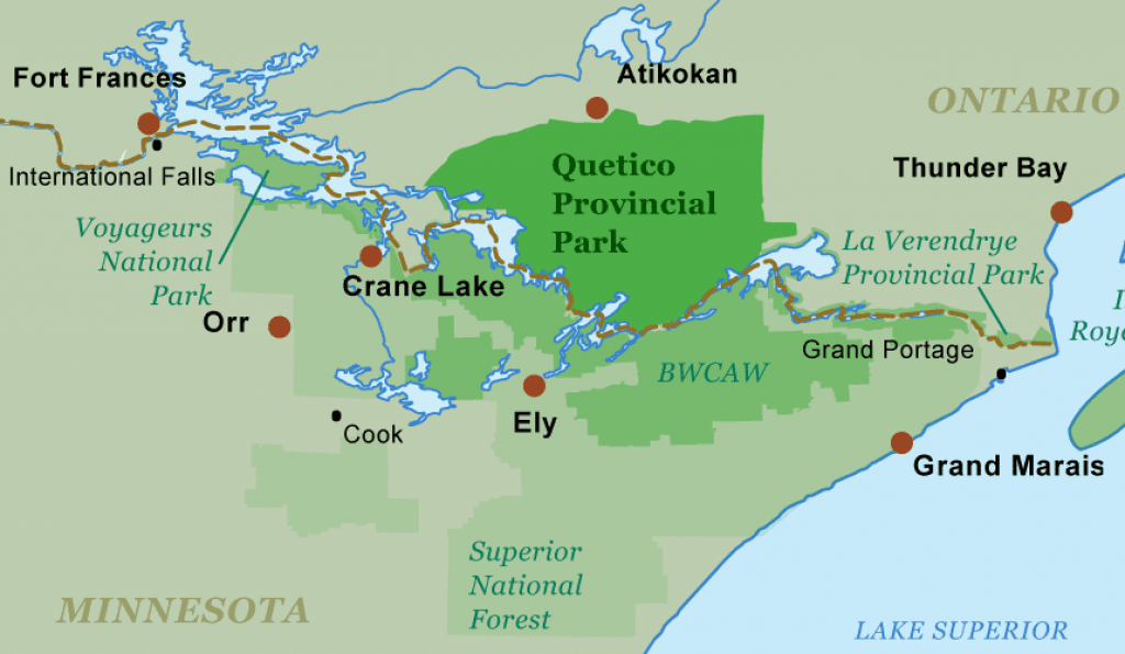 Quetico canoe trips jump off points
