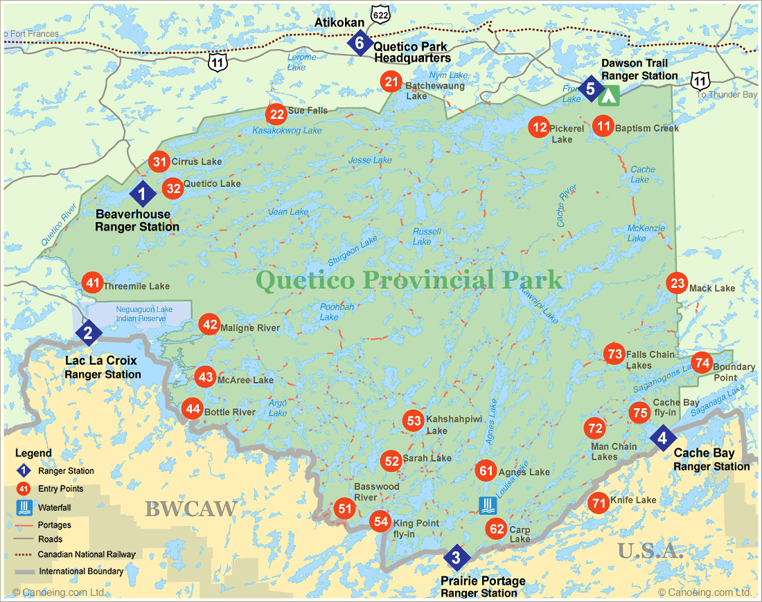 Quetico Provincial Park Entry Point Map Canoeingcom - Bwca entry point map