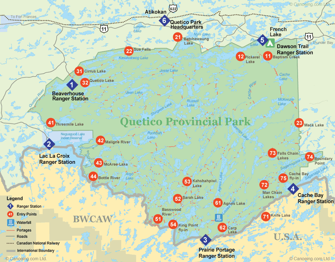 Quetico Provincial Park Entry Point Map · Canoeing com