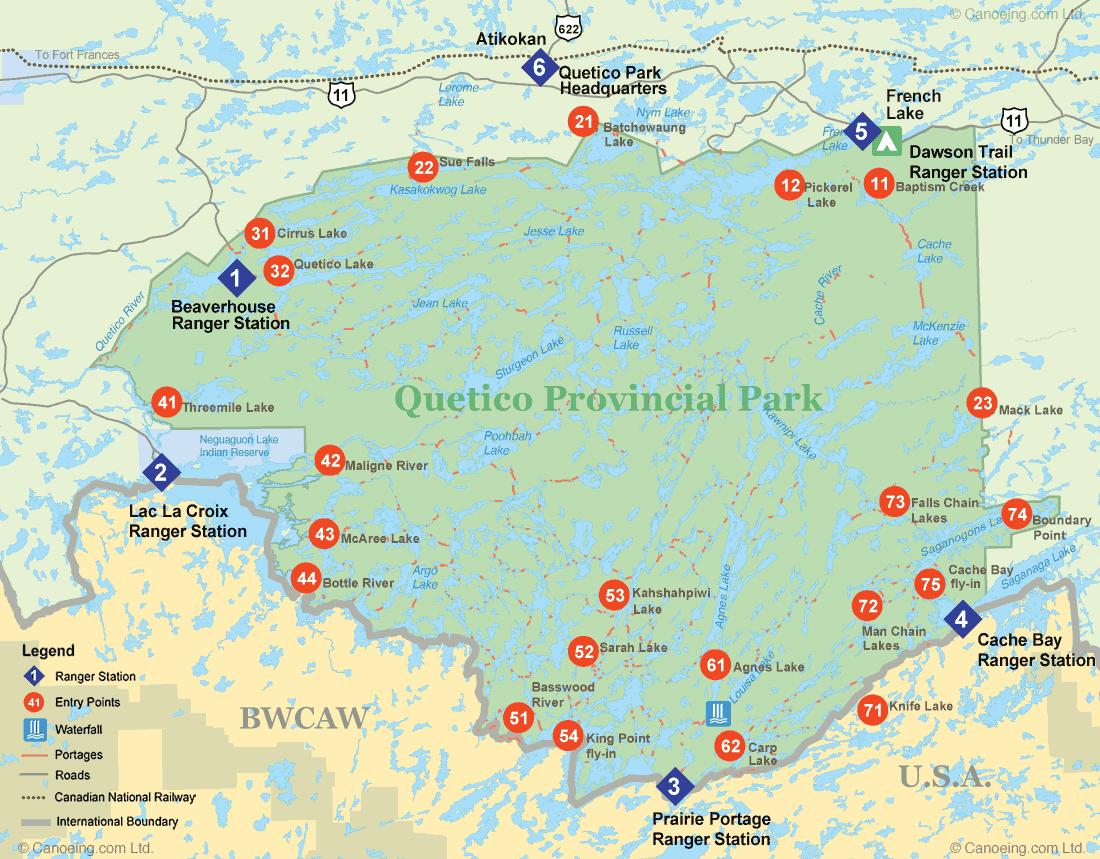 Quetico Provincial Park Entry Point Map Canoeing Com