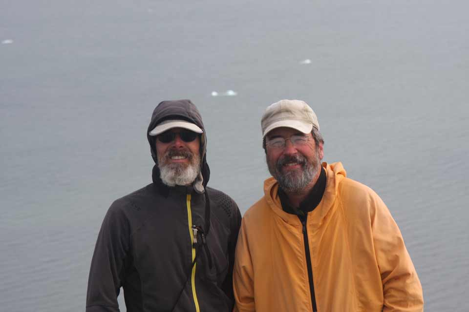 Brian Johnston and Jim Gallagher on the hills overlooking Franklin Bay at the end of the Horton River.