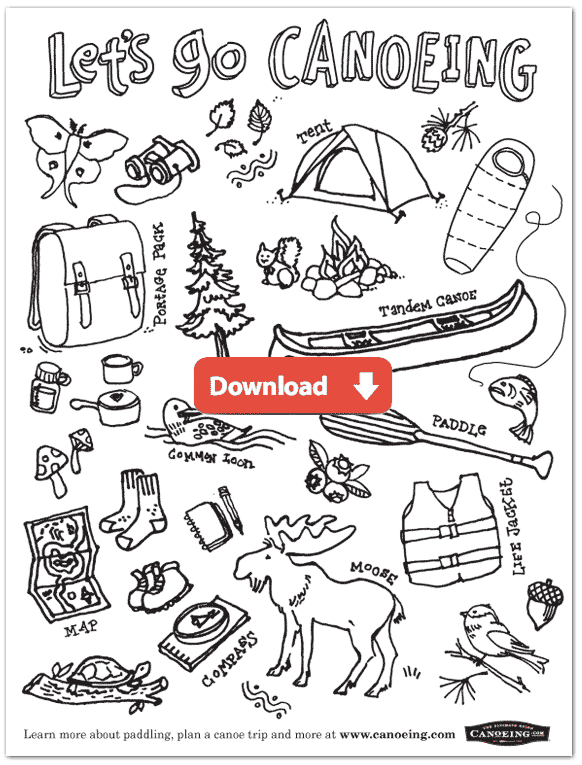 Canoeing Coloring Page for Kids