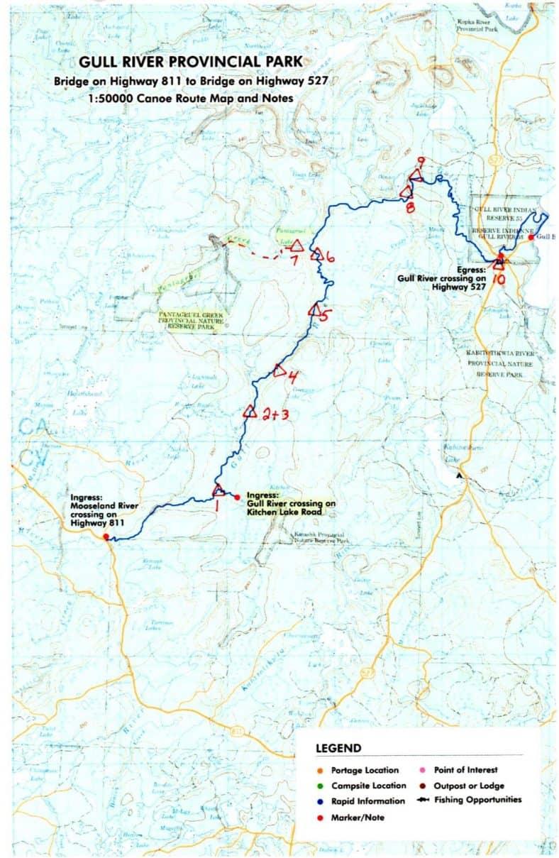 Gull River Canoe Trip Map © Vern Fish