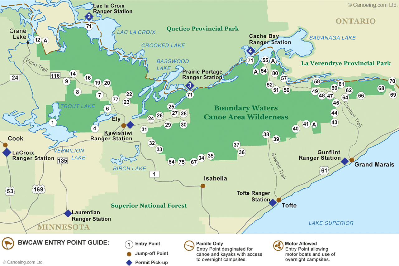 Boundary Waters Map BWCAW Entry Point Map · Canoeing.com Boundary Waters Map